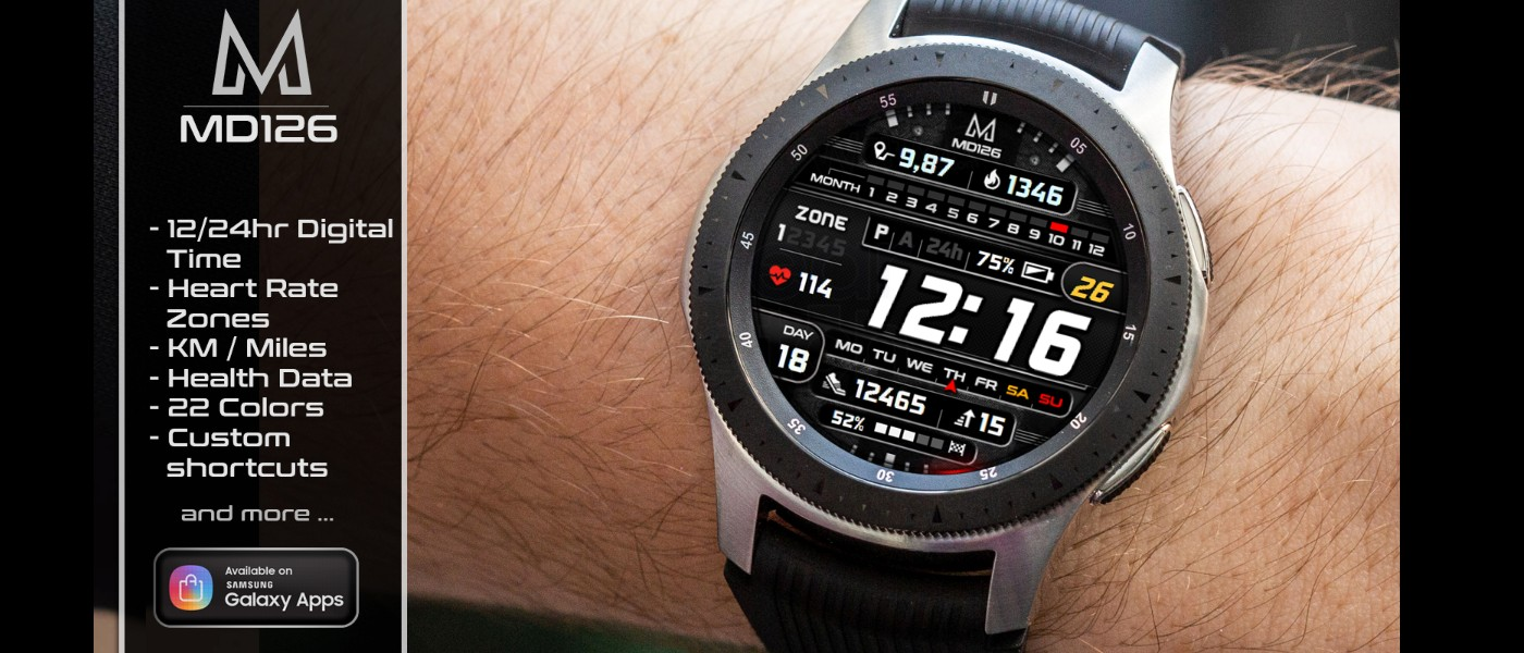 MyGalaxyWatch - Watchface overview: MD126 - Heart Rate Zones