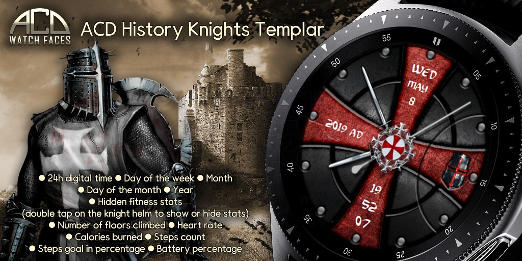 MyGalaxyWatch - Watchface overview: ACD History Knights Templar